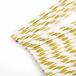 25 Count | Gold & White Paper Straws