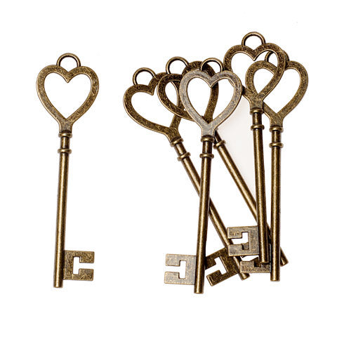 David Tutera™  Vintage Brass Heart Keys