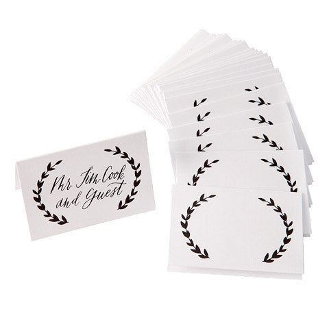David Tutera™ Black & White Laurel Wreath Place Cards