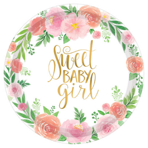 "8 Count | 10.5"" Sweet Baby Paper Plate"