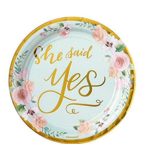 "8 Pieces | She Said Yes 7"" Paper Plate"