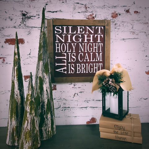 "Silent Night Sign | Farmhouse Style | 16"" x 16"""