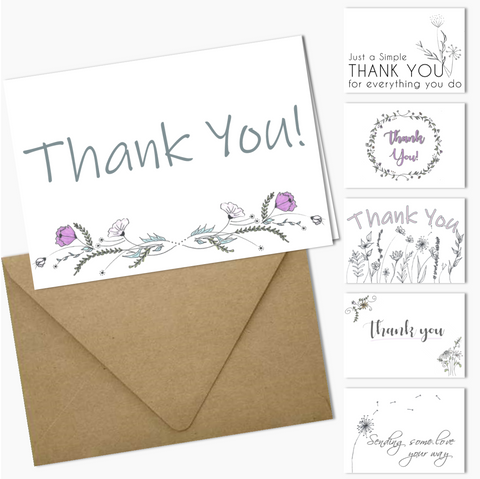 Thank You Cards | CaraLines Floral Variety Pack | 12 Count