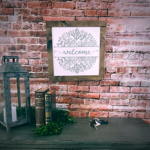 "Welcome Sign | Farmhouse Style | 16"" x 16"""