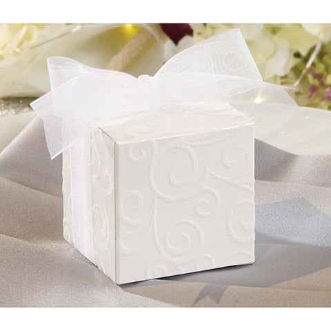 David Tutera Favor Box - White Flocked Swirl -  24 Pieces