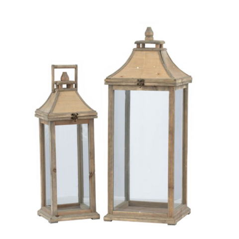 Wood Lanterns with Flip Top