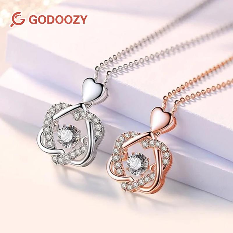 Godoozy™Heart necklace Set with rose