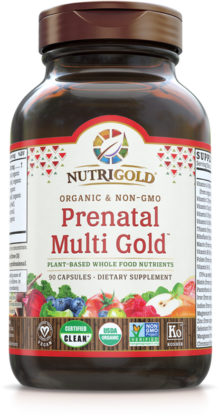 Prenatal Multi Vitamin Gold (Organic, Whole-food) 90 VCaps