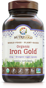 Iron Gold - 18 mg (Organic, Whole-Food, Plant-based) 60 VCaps