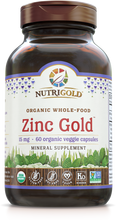 Zinc Gold - 15 mg (Organic, Whole-food, Plant-based) 60 Vcaps