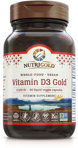 Vitamin D3 Gold - 2,500 mcg (Whole-food, Vegan, Lichen) 60 Vcaps