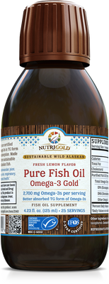 Pure Fish Oil Omega-3 Gold 125mL Bottle