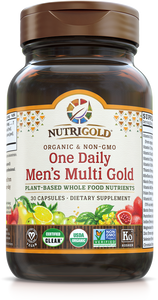 Men's One Daily Multi Vitamin (Organic, Whole-food, Plant-based) 30 VCaps