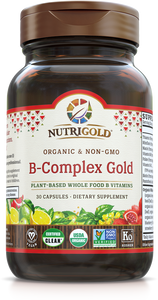Vitamin B-Complex Gold (Organic, Whole-food, Plant-based) 30 Vcaps