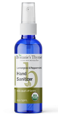 Brittanie's Thyme Organic Lemongrass Hand Sanitizer, 2 FL OZ (Limit 2 per customer)