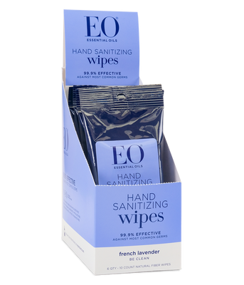 EO Resealable Hand Sanitizer Wipes Lavender 6 Qty 10 Count