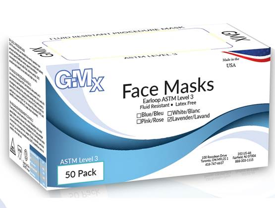 GMX Earloop Face Masks ASTM Level 3  50/Box