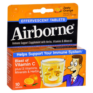 Airborne - Effervescent Tablets With Vitamin C - Zesty Orange - 10 Tablets
