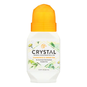Crystal Essence Mineral Deodorant Roll-on Chamomile And Green Tea - 2.25 Fl Oz