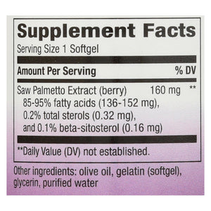 Nature's Way - Saw Palmetto Standardized - 60 Softgels