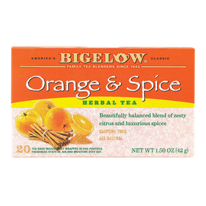 Bigelow Tea Orange & Spice Herb Tea - Case Of 6 - 20 Bag