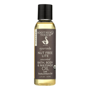 Soothing Touch Bath Body And Massage Oil - Organic - Ayurveda - Nut Free Lite - Unscented - 4 Oz