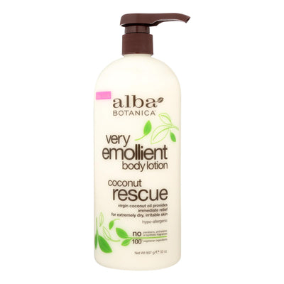 Alba Botanica Body Lotion - Very Emollient - Coconut Rescue - 32 Oz