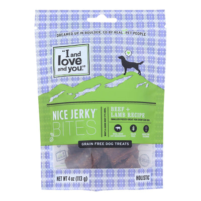I And Love And You Nice Beef + Lamb Jerky Bites Dog Treats - Case Of 6 - 4 Oz