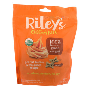 Riley's Organics Organic Dog Treats, Peanut Butter & Molasses Recipe, Small  - Case Of 6 - 5 Oz