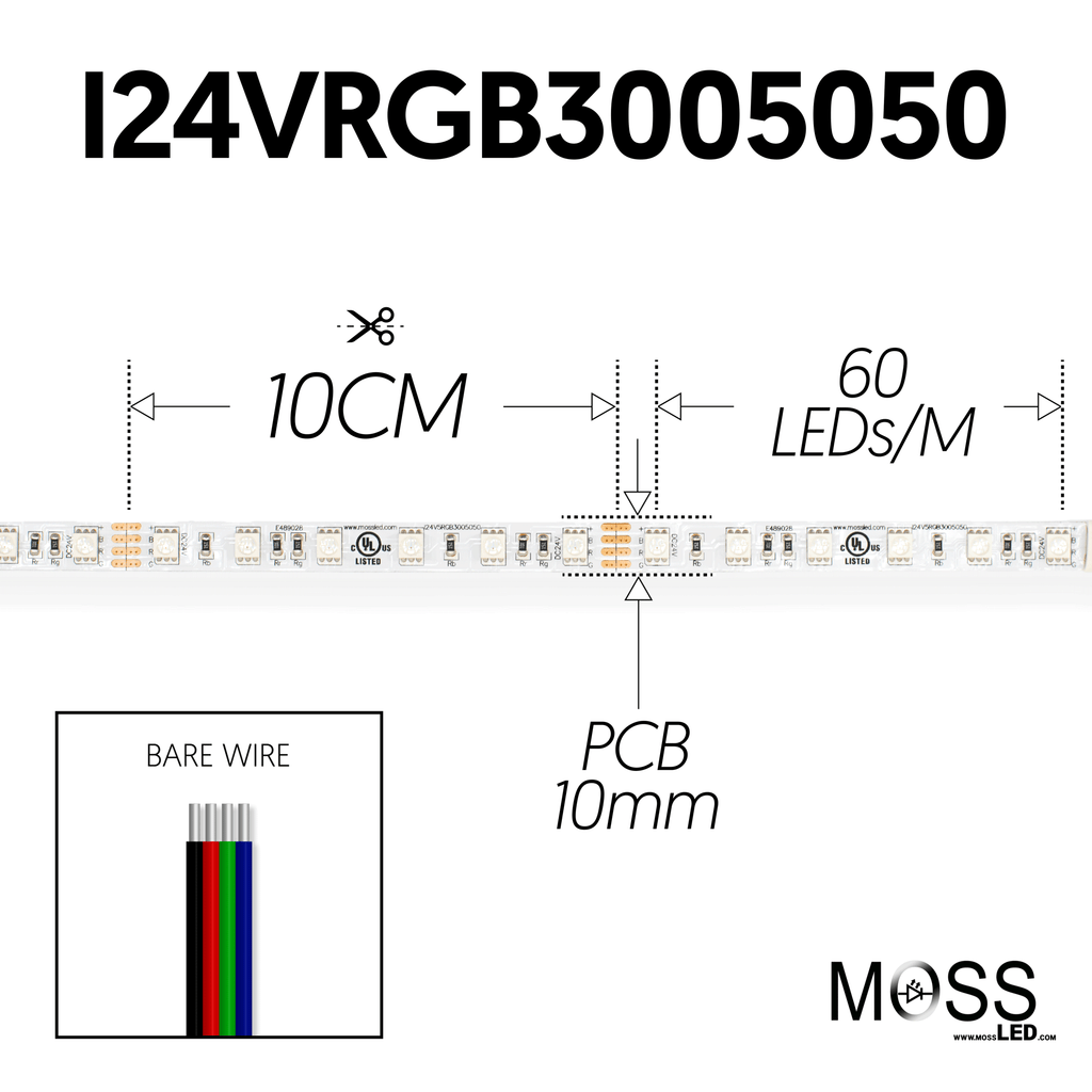 FlexLED RGB 24V 60 LED/Meter Indoor Bare Wire