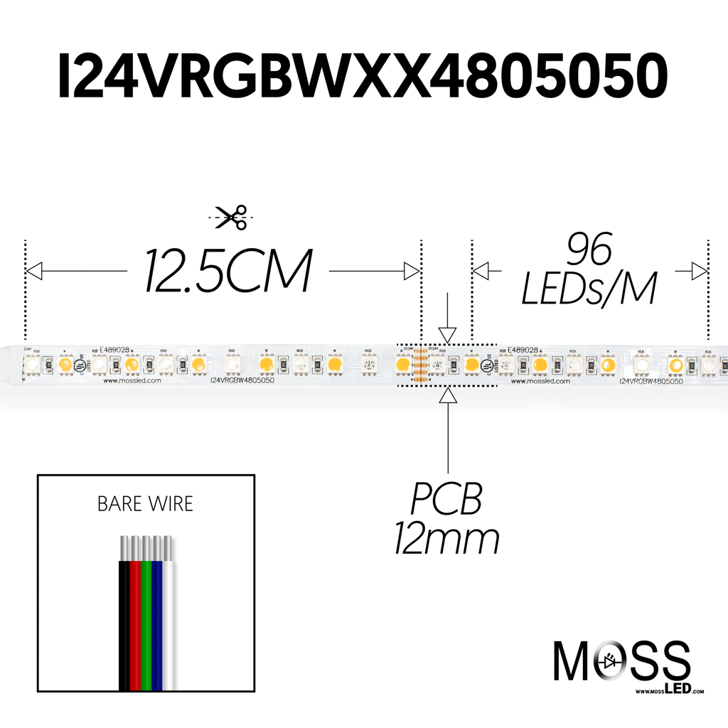 FlexLED 96 RGB + White 24V 5600k Indoor Bare end wires