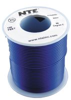 Hook Up Wire PVC, Blue, 22 AWG, 100 FT