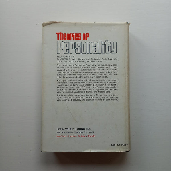 Theories of Personality by Calvin S Hall and Gardner Lindzey