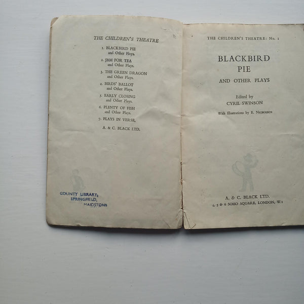 Blackbird Pie and Other Plays by Cyril Swinson (ed)