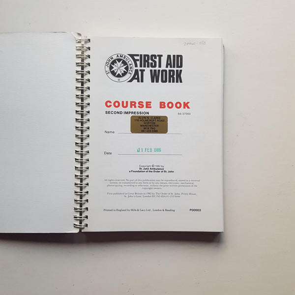 First Aid at Work by St John Ambulance Association