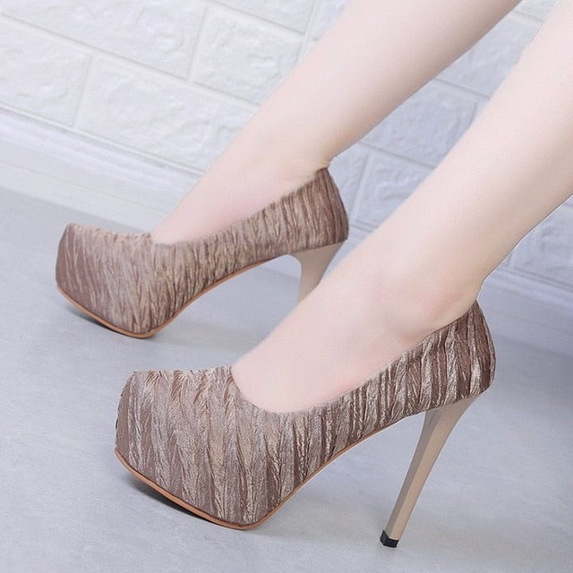 solid color high heels shoes