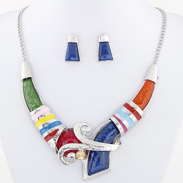 African Jewelry Set Crystal Pendant
