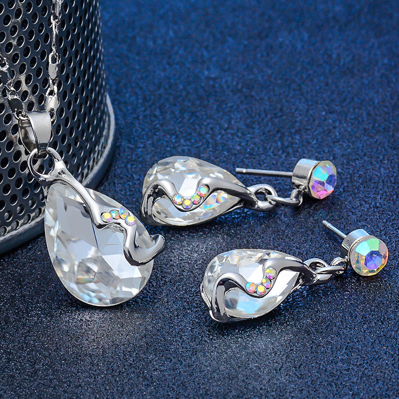Charm Water Drop Silver Color Jewelry Set