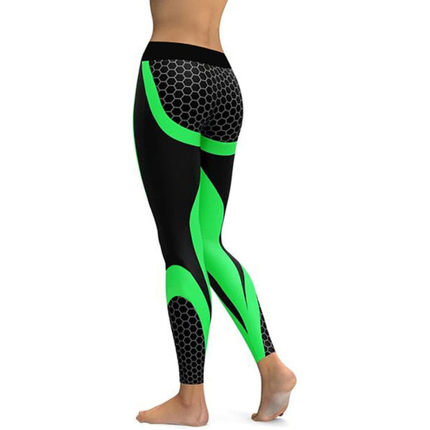 Mesh Pattern Green Leggings