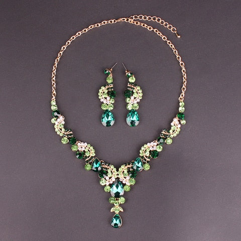 Crystal Indian Necklace Earring Bracelet Ring Jewelry Set