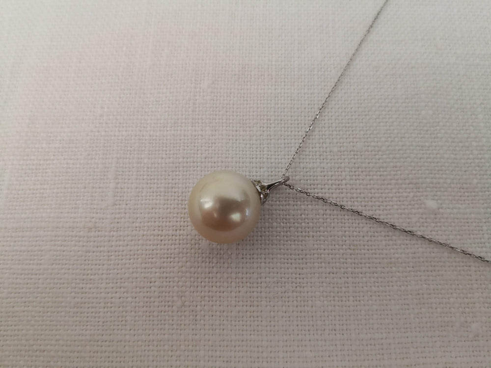 14 mm South Sea Pearl Pendant Necklace, Sapphires and Gold