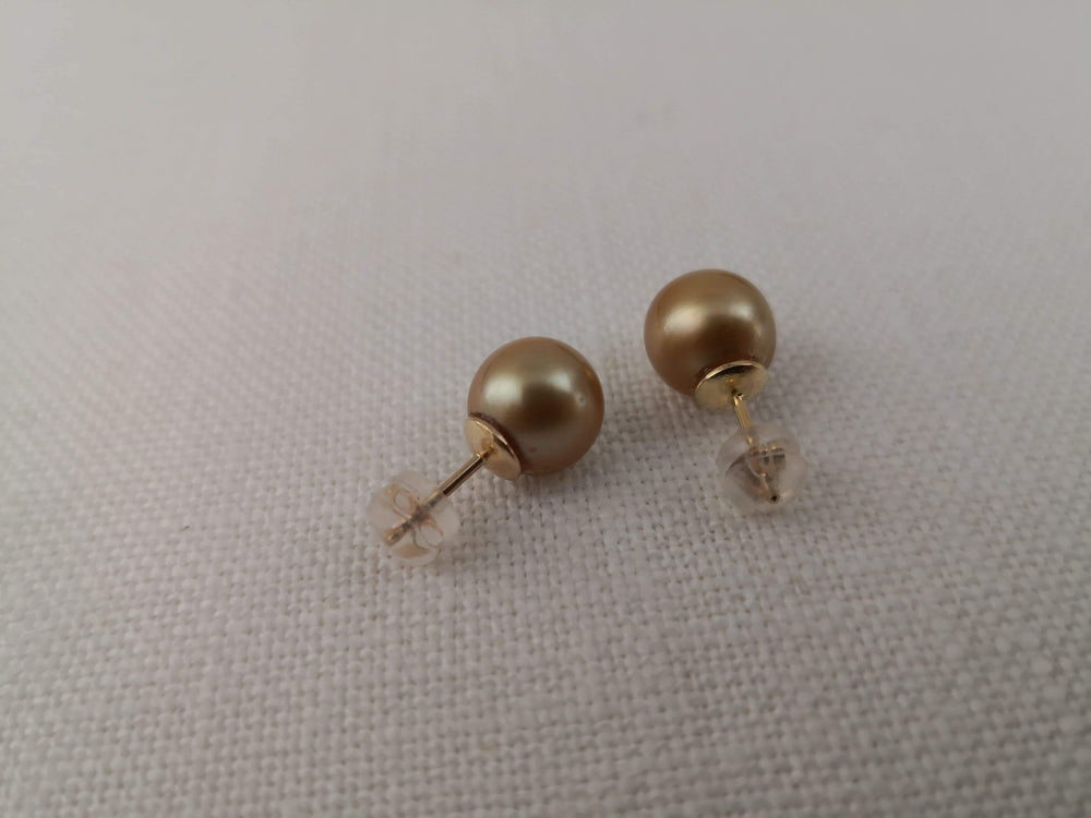 Deep Golden Color 9 mm South Sea Pearls, 18 Karats Gold