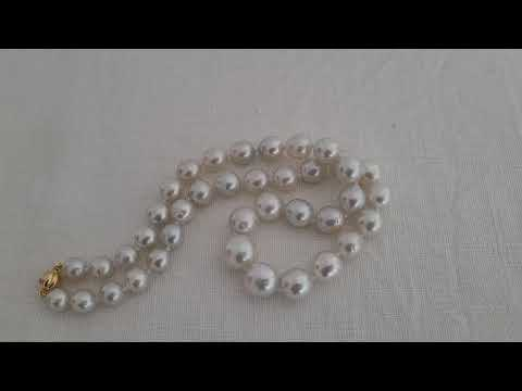 Load and play video in Gallery viewer, South Sea Pearls White Silvery Color 9-13 mm