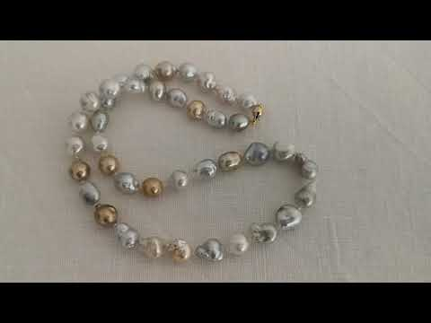 Load and play video in Gallery viewer, Natural Color and Baroque Shape South Sea Pearls