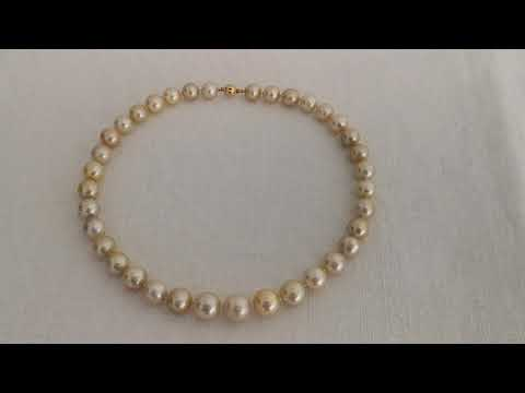 Load and play video in Gallery viewer, South Sea Pearls 10-13 mm Round, Golden, 18 Karats Gold