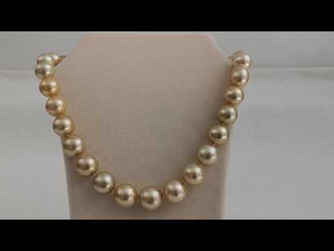 Load and play video in Gallery viewer, 12-16 mm South Sea Pearls Natural Color & Luster Necklace