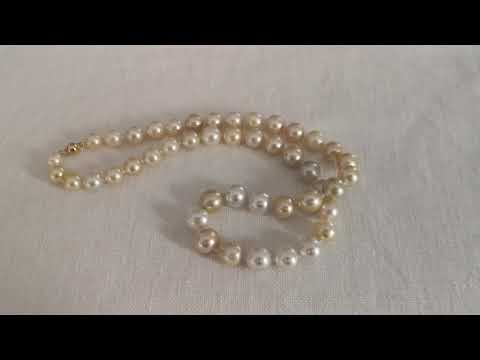 Load and play video in Gallery viewer, South Sea Pearls Necklace 8-10 mm High Luster.