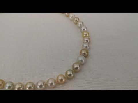 Load and play video in Gallery viewer, Natural Color South Sea Pearl Necklace 8-11 mm Round Shape
