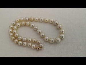 Load and play video in Gallery viewer, Round South Sea Pearls Necklace 9-13 mm