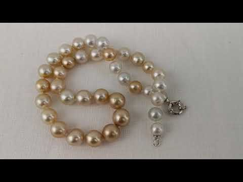 Load and play video in Gallery viewer, Natural Color South Sea Pearls Necklace 10-13 mm
